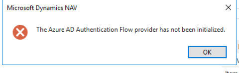 Azure AD Auth. Flow error in Dynamics NAV
